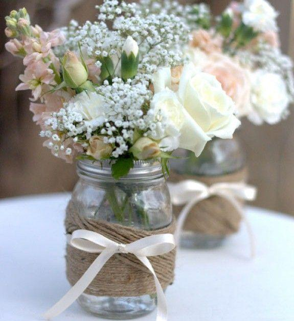 White baby shower ribbons - around decorative jars