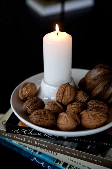 White candleholder - inside a bowl