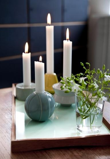 White candles - placed on round holders