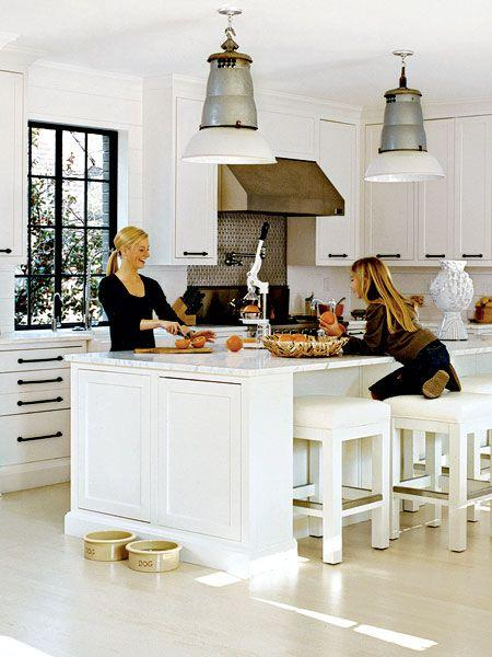 White industrial kitchen pendants - with metal base and white shade