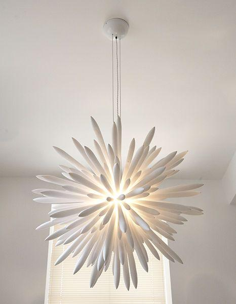White interesting contemporary lamp - with creative shape