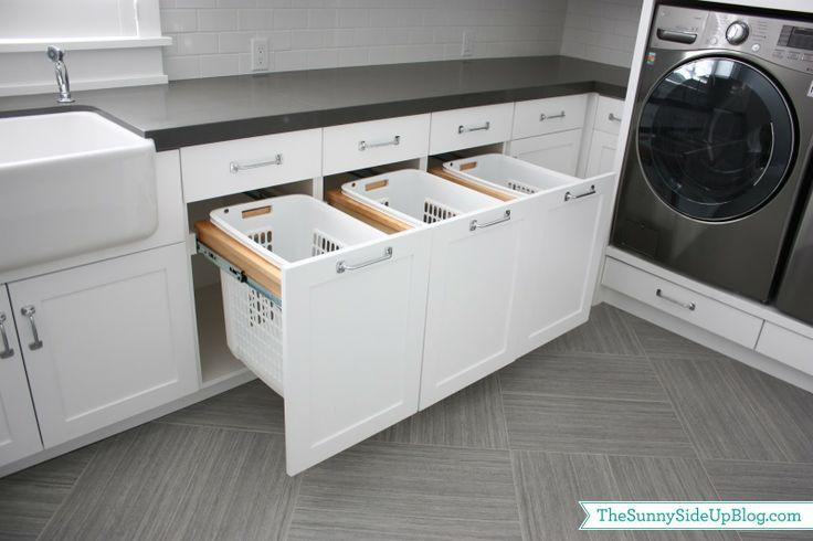 White laundry room - with sliding drawers
