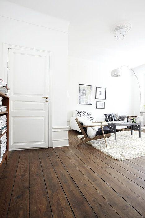 White living room paint and door - in a modern Swedish flat
