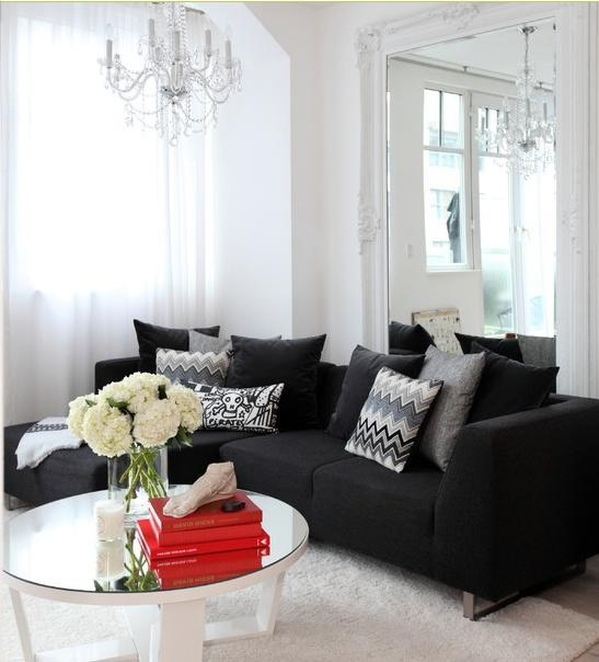 White living room paint - with black sofa