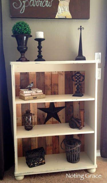 White pallet shelves - for storing decorative items