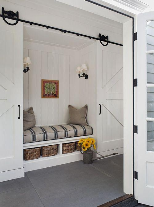 White wooden sliding hallway door - for a great interior design accent