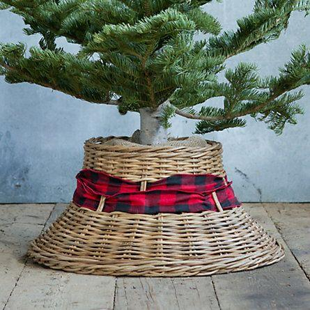 Wicker Christmas tree skirt 10- with red and black ribbon