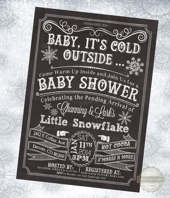 Winter baby shower invitation - black background