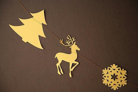 Yellow Christmas garland - deer, tree and snowflake