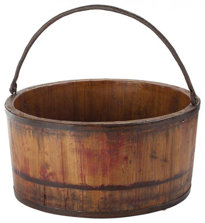 Antique Revival Vintage Wooden Wash Bucket, Natural