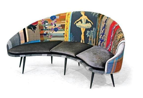 Art decor modern sofa - with colorful backrest