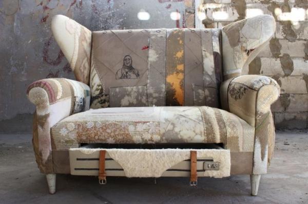 Artistic modern sofa - inside an industrial room