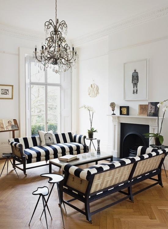 Black and white modern sofas - one against another