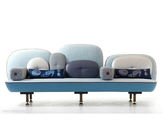 Blue modern sofa - with three sections