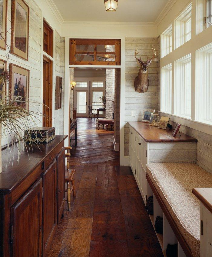 Country house entryway - with wood floor