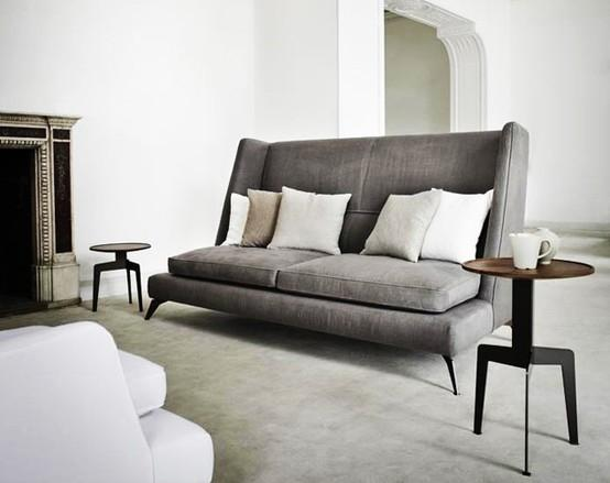 Dark grey modern soga - with high backrest