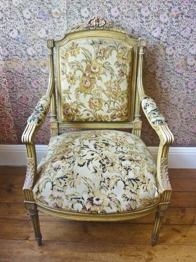 French Rococo armchair - with floral upholstery