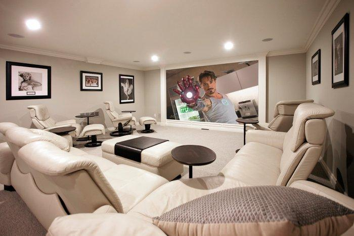 Futurist home theatre room - with leather sofas