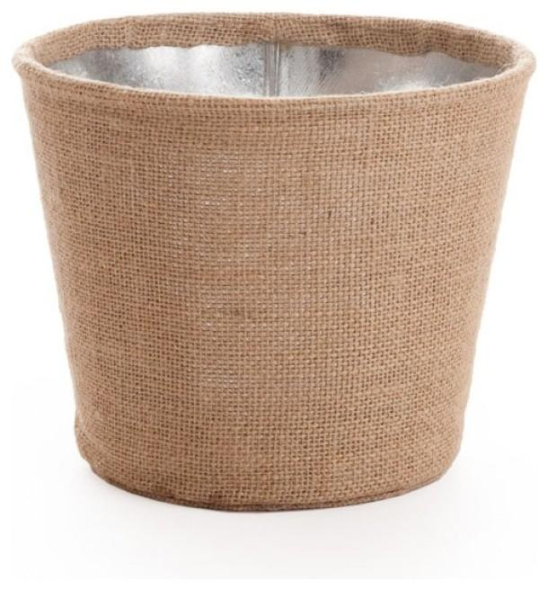 Large Burlap-Wrapped Galvanized Metal Bucket