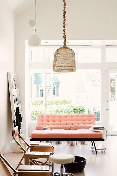 Pink modern sofa - in living room