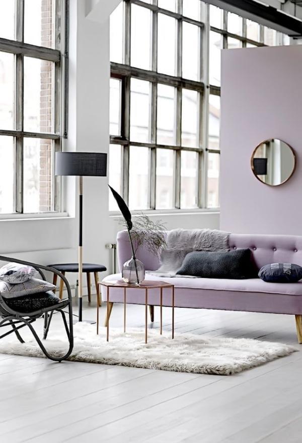 Purple modern sofa - in extravagant flat