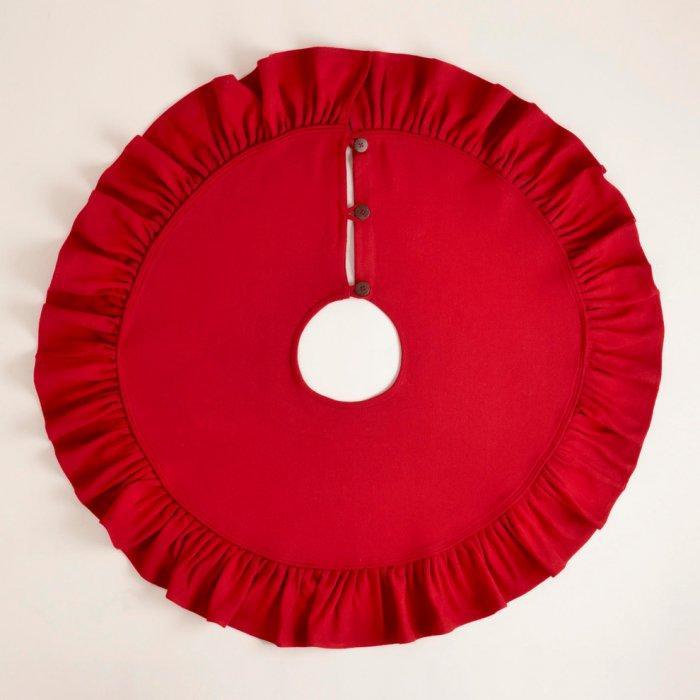 Ruffled Red Burlap Tree Skirt
