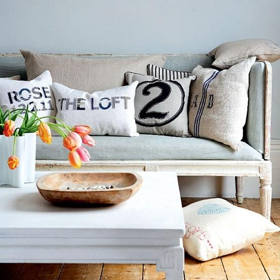 Shabby chic modern sofa - with decorative pillows
