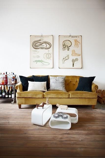 Velvet modern sofa - with soft seat