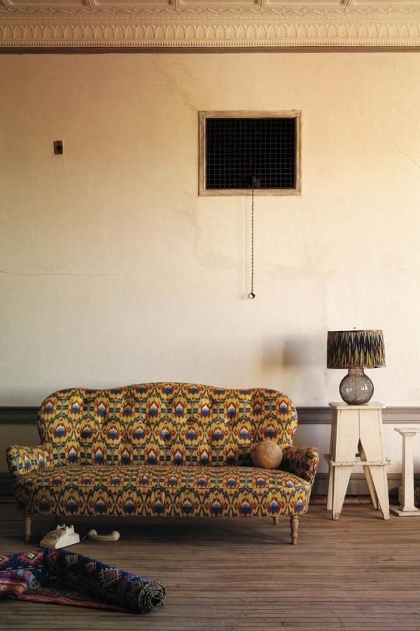 Yellow modern sofa - with psychedelic pattern