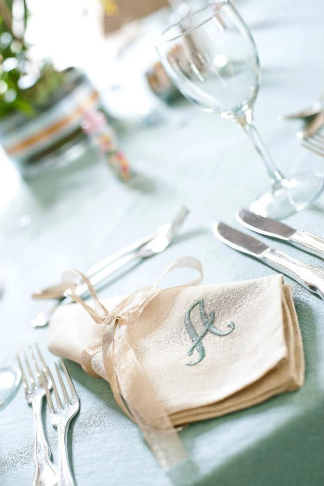 Baby shower table setting - with personalized napkins