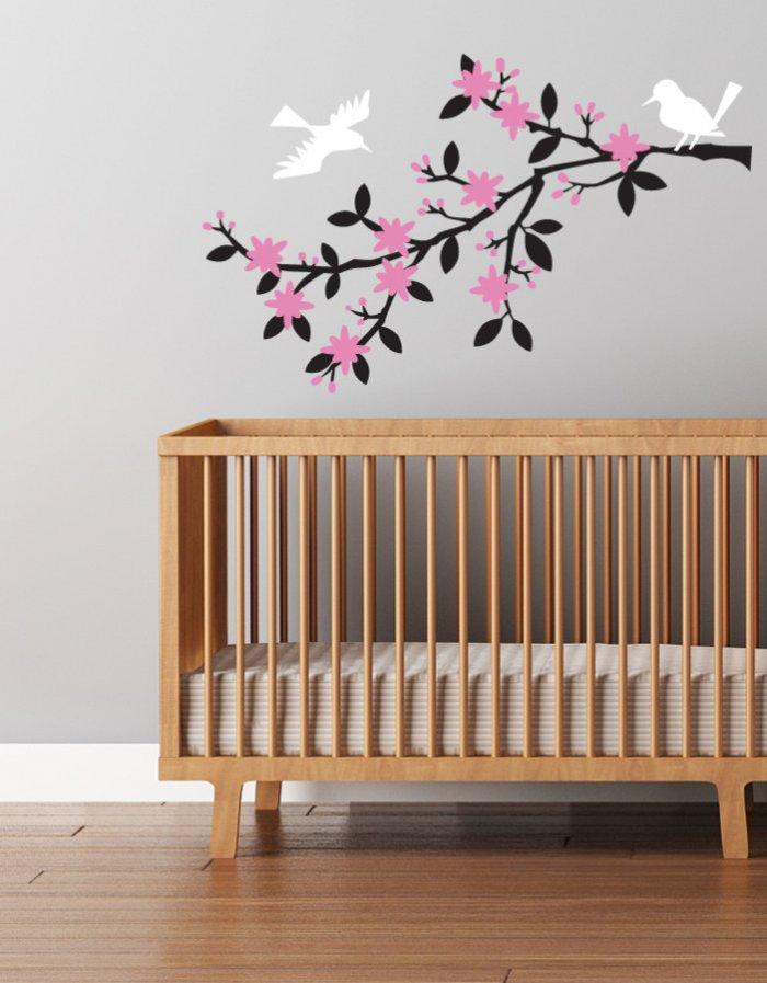 Baby shower tree decal - with birds and blossoms