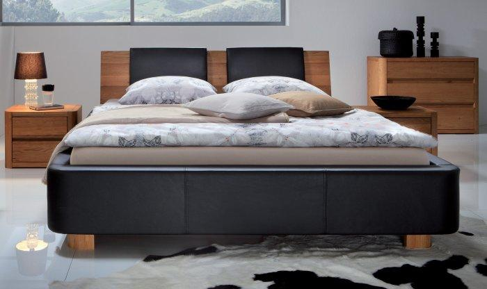Black designer bed - with wooden headboard