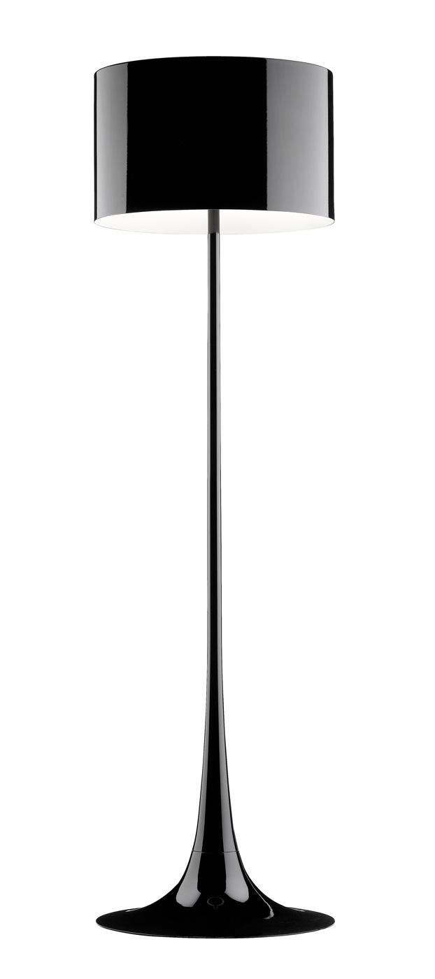 Black floor lamp - with round shader