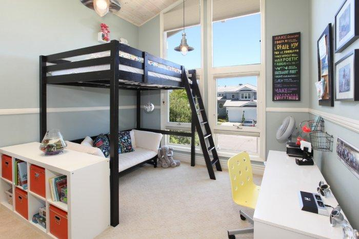 Black loft bed - in a sunny room