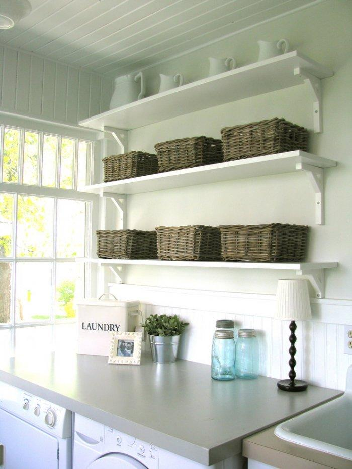 Charming shelves with baskets for storage - with wicker baskets