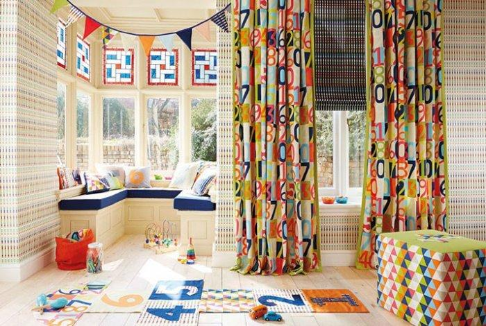 Cheerful designer textile - for kid's room curtains