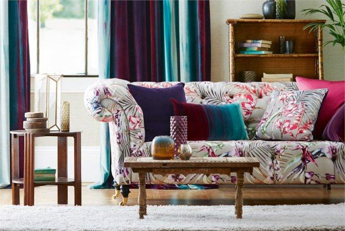 Colorful designer upholstery - on a couch