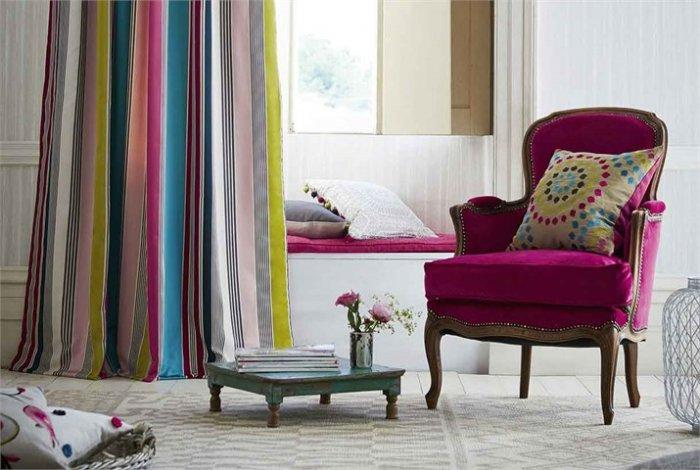 Colorful patterned curtains - with designer textile