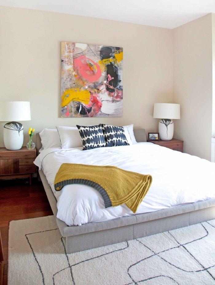 Contemporary abstract bedroom art - in a sunny room