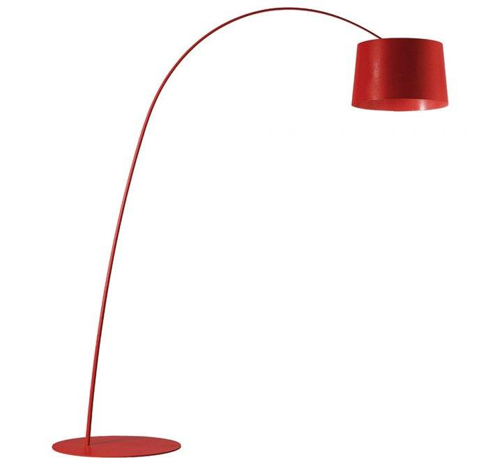 Contemporary floor lamp - with curved arm