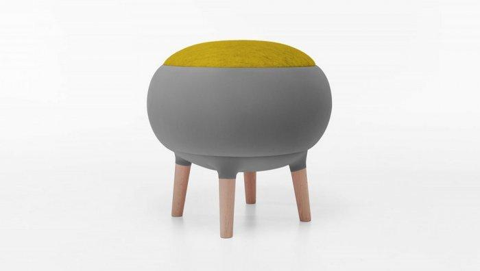 Contemporary grey stool - with green seat