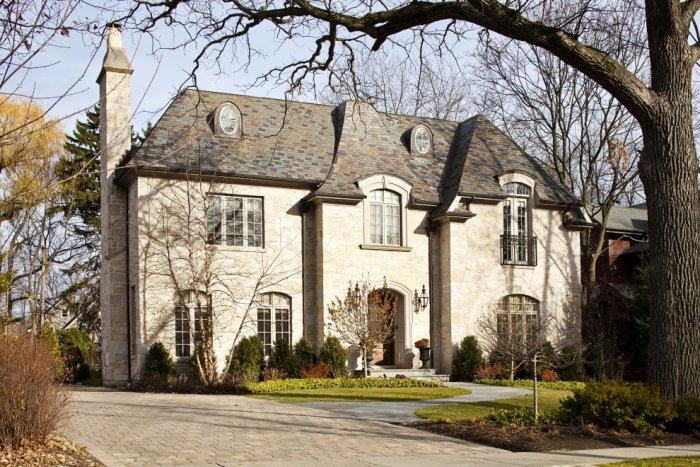 Country French eclectic home - with asymmetrical facade