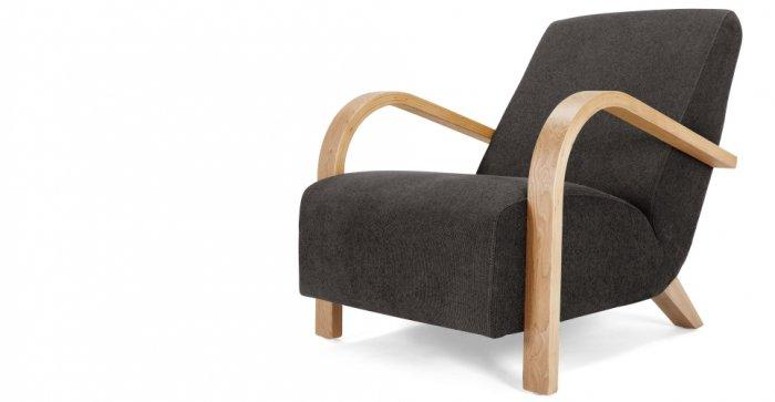 Dark designer armchair - with wooden armrests