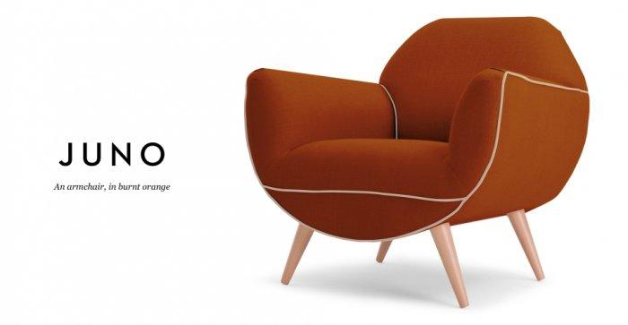 Dark orange designer chair - with modern design