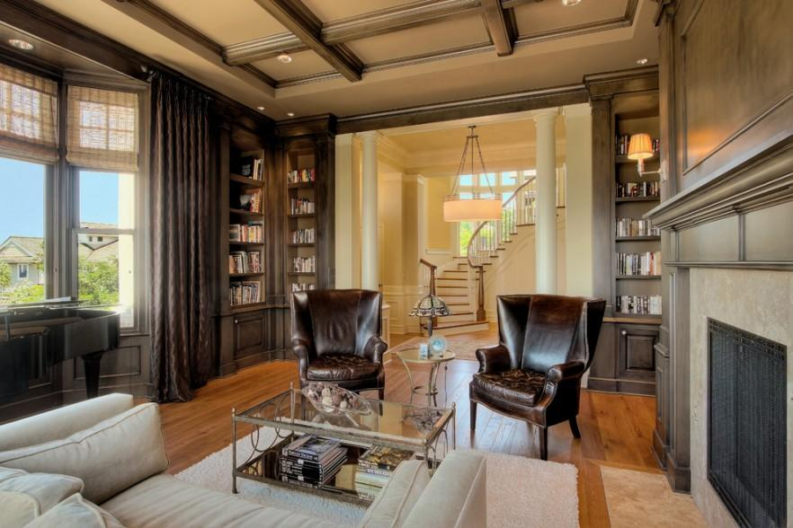 Sensational Den Room And Area Design Ideas Wallpapered Wainscoting Den Largest Home Design Picture Inspirations Pitcheantrous