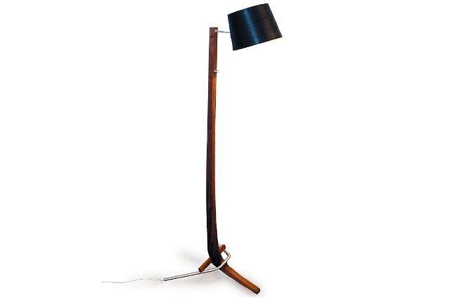 Designer floor lamp - with wooden arm