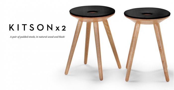 Designer stools - padded black