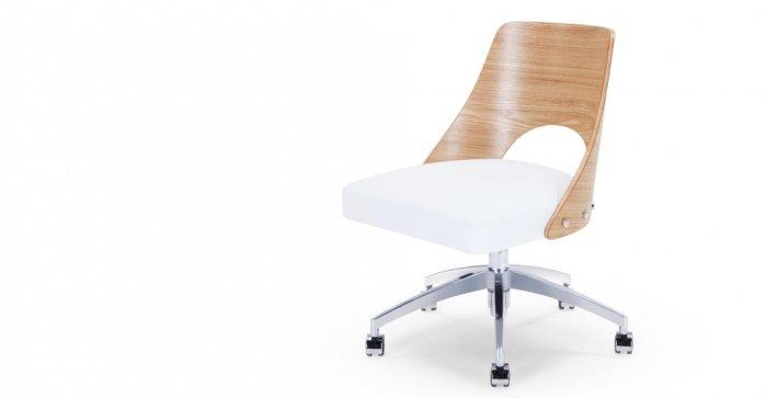 Desk designer chair - with wooden backrest
