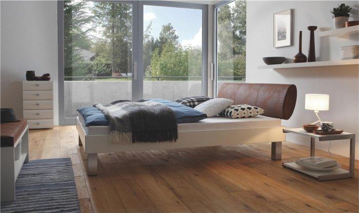 Elegant designer bed - with low headboard