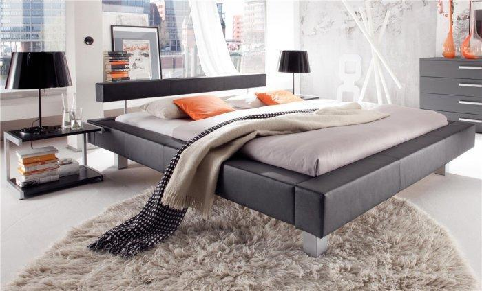 Futuristic designer bed - in grey color